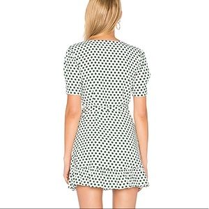 Privacy Please Dresses - White and Green Polka Dot Wrap Dress